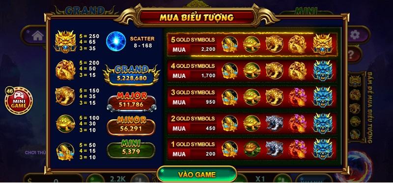 Các biểu tượng được mua trong game Kho Báu Tứ Linh