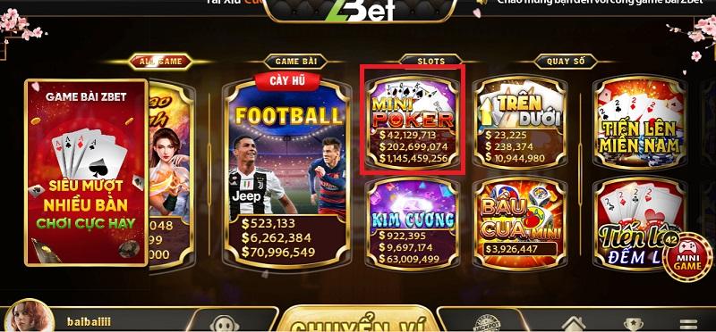 Mini Poker là sự kết hợp giữa Slot Machine và Poker